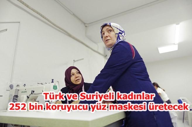Türk ve Suriyeli kadınlar'dan maske üretimi